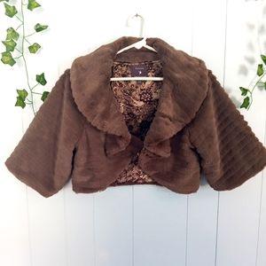 Forever 21 Faux Fur Dress Coat Large